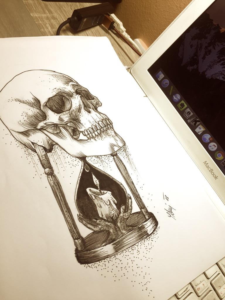 Lebka kresba, skull drawing